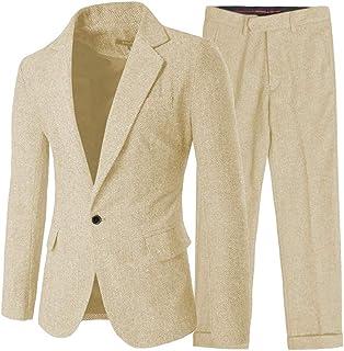 Men's 2 Pieces Formal Herringbone Mens Suit Slim Fit One Button Tuxedos for Wedding Groomsmen(Blazer+Pant)