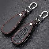 WFE&QFN Couvercle de clé de Voiture 3 Boutons en Cuir Noir clé de Cas de Couverture fob de Voiture à Distance en Cuir pour Ford Focus RS Fiesta Mondeo B-Max Grand C-Max Galaxy, Noir