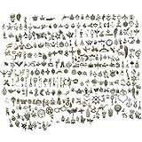 300 PCS Misti Stili retrò Argento Ciondolo, Charms in Argento Tibetano Liscio in Metallo per Collana Bracciale Creazione e Fabbricazione di Gioielli