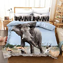 Duvet Cover Set, 3D Print Elephant Mother and Child Home Textiles Animal Bedding Set Linens Duvet Cover Set and Pillowcase...