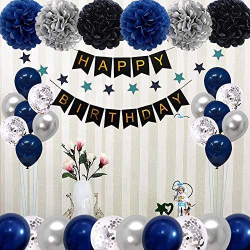 Dunkelblau Silber Geburtstagsdeko Mädchen Junge, Geburtstag Dekoration Set, Schwarz Happy Birthday Banner Girlande mit Pompoms Papier und Konfetti Luftballons für Geburtstag Partydeko