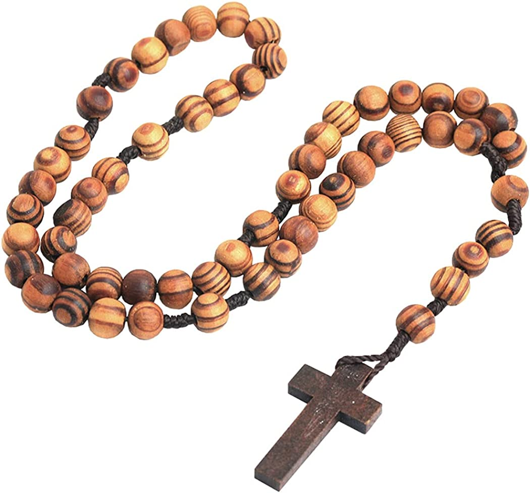 Wood Cross Pendant Necklace for Women Men Girls Natural Wooden Beads Chain Long Handmade Boho Style Chunky Beaded Necklaces Fashion Statement Religious Costume Jewelry