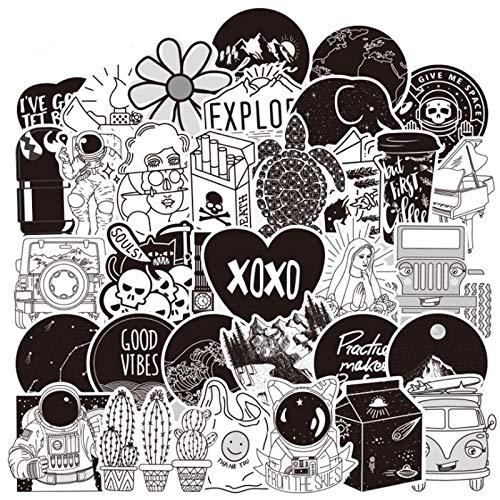 BLOUR 10/30/50 Uds Blanco y Negro pequeña línea Fresca Exquisita Maleta de Dibujos Animados Tendencia Trolley Chica Graffiti Pegatina decoración al por Mayor