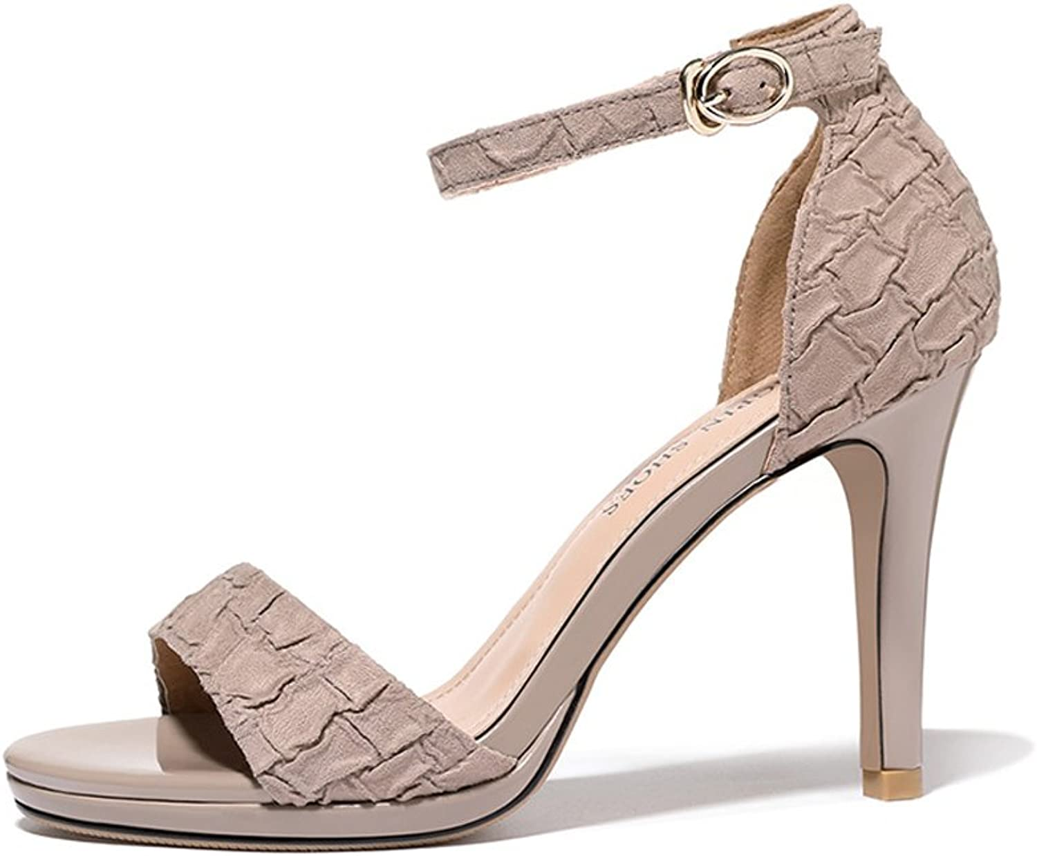Summer Buckle Female Summer sandals Women with coarse with Open-Toed shoes New Summer high Heels (high 9cm) (color   Beige, Size   39)