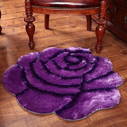 DSJ Verdikt 3D getrimde rozentapijt, slaapkamer, nachtkastje, rond, tapijt, computerstoel, tapijt, 70 x 140 cm, EE