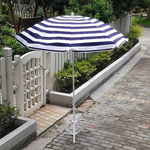 Zixin Jardín Azul y Negro Rayas Patio Permanente Paraguas, persiana Exterior Protector Solar con Cubierta Toldo - con el Paraguas Plegable Soporte