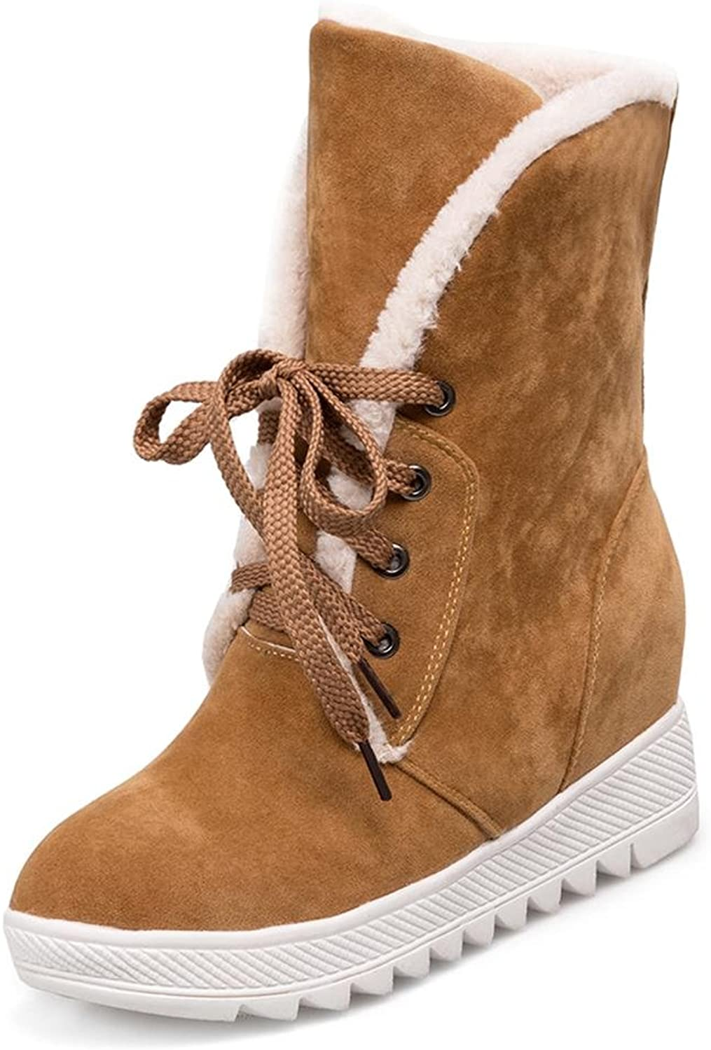 LIUshoes L&LGirls' Winter Snow Boots Autumn and Winter Cotton Boots Female Snow Boots Boots Plus Cashmere Keep Warm Within The Increase Lace Large Size shoes