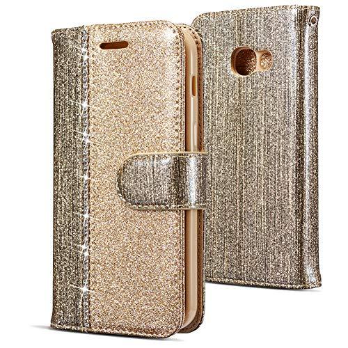 WIWJ Kompatibel mit Samsung Galaxy A3 2017 Hülle,Handyhülle Samsung Galaxy A3 2017,Flip Case Cover Premium Tasche[Punktbohrer Ledertasche]Handytasche Brieftasche Hülle Etui Schutzhülle-Champagner-Gold