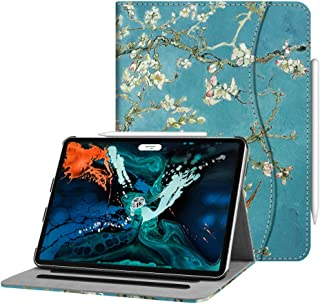Fintie Case for iPad Pro 12.9 3rd Gen 2018 [Supports Apple Pencil 2nd Gen Charging Mode] - [Multi-Angle Viewing] Folio Smart Stand Cover w/Pocket [Secure Pencil Holder] Auto Sleep/Wake, Blossom