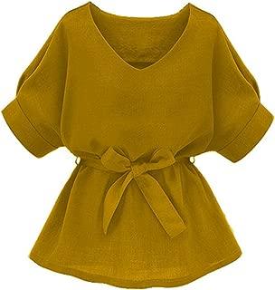 Women's V Neckline Self Tie Short Sleeve Blouse Tunic Tops
