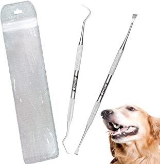 Wzhe Dog Tooth Scaler and Scraper - 2 Pack Upgrade Pet Tarter Remover with Different Angles Double Head, Stainless Steel Teeth Cleaning Tools for Dogs