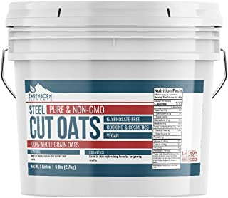 Steel Cut Oats, 1 Gallon Bucket (6 LBS) by Earthborn Elements, Also Called Irish Oatmeal, for Breakfasts, Face Masks, & More, Resealable Bucket