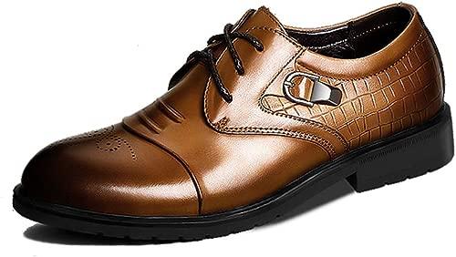 YEEWEN Handgemacht Herren Business Oxfords mit Schnalle Dekoration Schnürung Spitzschuh Echtes Leder Abriebfest Abendschuhe (Farbe   Braun, Größe   41 EU)