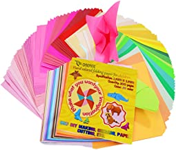 Onepine Origami Paper 6x6inch 400 Sheets 50 Vivid Colours 80% Double Sided and 20% Single Sided for Kids Folding Papers