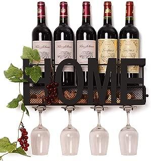 ZGXY Wall Mounted Metal Wine Rack Glass Holder Iron Decorative Wine Cork Storage Rack Gift Easy Install