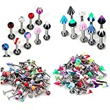 SQdeal 100PCS 16 Gauge UV Labret Lip Tragus Bars Barbell Rings Earring Stud Body Jewelery Pieceing