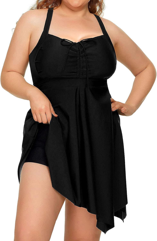 Daci Plus Size Swimdress for Women Flowy Tummy Control Tankini Swimsuits with Boyshorts
