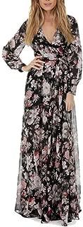 HODOD Summer Fashion Women's V-Neck Long Sleeve Chiffon Floral Long Maxi Evening Party Dress