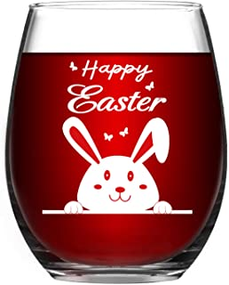 Easter wine Glasses - Funny Easter Gifts - Happy Easter Wine Glass with Bunny - Easter Basket Ideas - Easter Gift for MIL Mom Grandma Her Daughter Best Friend