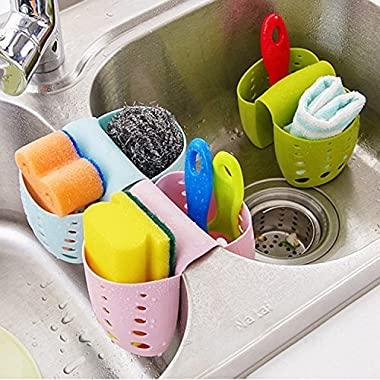 Grocery House Sponge Sink Holder, Hanging Silicone Kitchen Gadget Storage Organizer, Baskets Drain Bag (Blue)