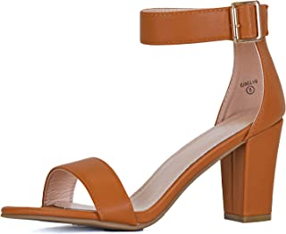 Guilty Shoes Women Velcro Ankle Strap Chunky Block Dress High Heel Sandals