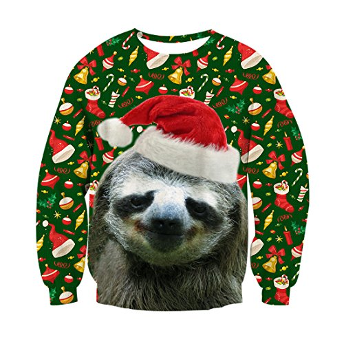 ChicolifeUnisex hässlich Weihnachten Faultier Dekoration Print Grafik Xmas Pullover Pullover Sweatshirt für Damen Herren
