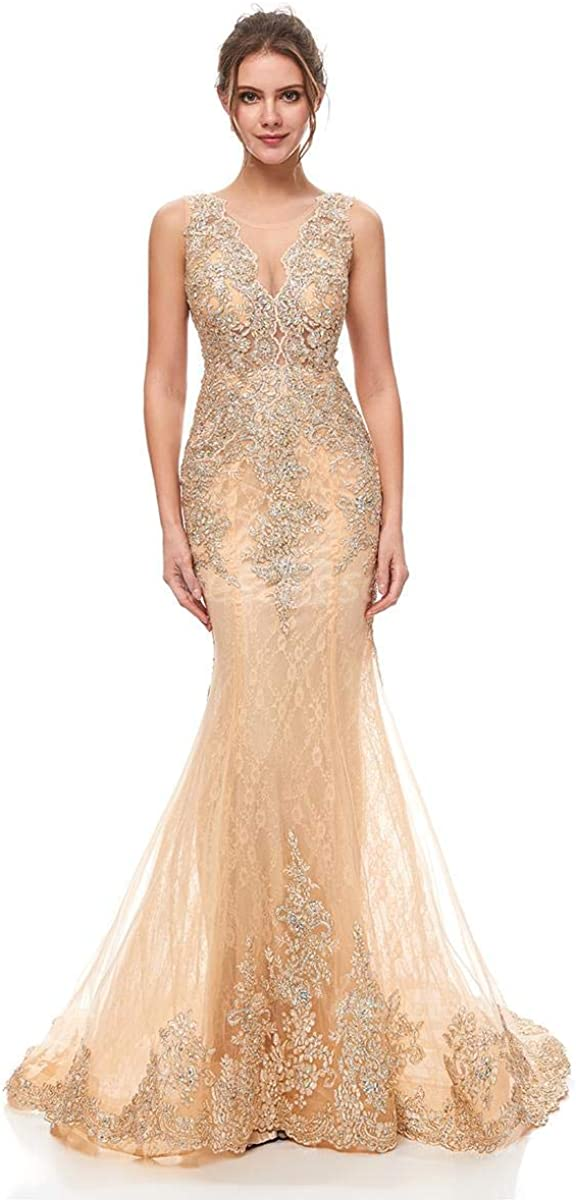 Belle House Women Champagne Mermaid Evening Dresses Appliques Beaded Formal Occasion Prom Party Gown