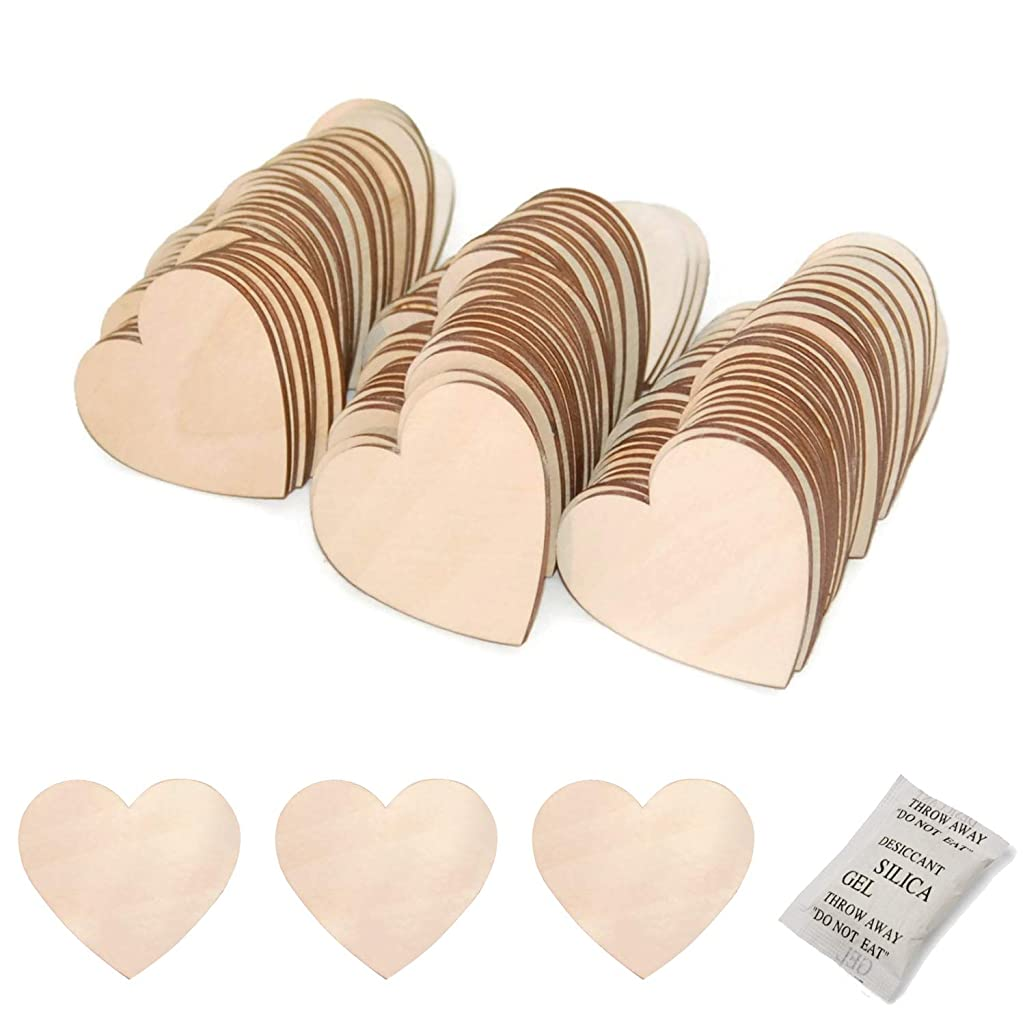 BEADNOVA Wood Heart Natural Unfinished Wooden Discs Plywood Heart Cutout Shape for DIY Crafts ProjectsWedding Guest Book (50mm, 25 Pieces)