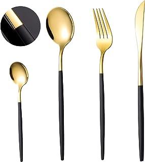 COPOTI Vaisselle Noir Et Or,Haut De Gamme 20 Pièces Poignée Noire Cuillère Fourchette Couteau Couverts Un Service 6 Person...
