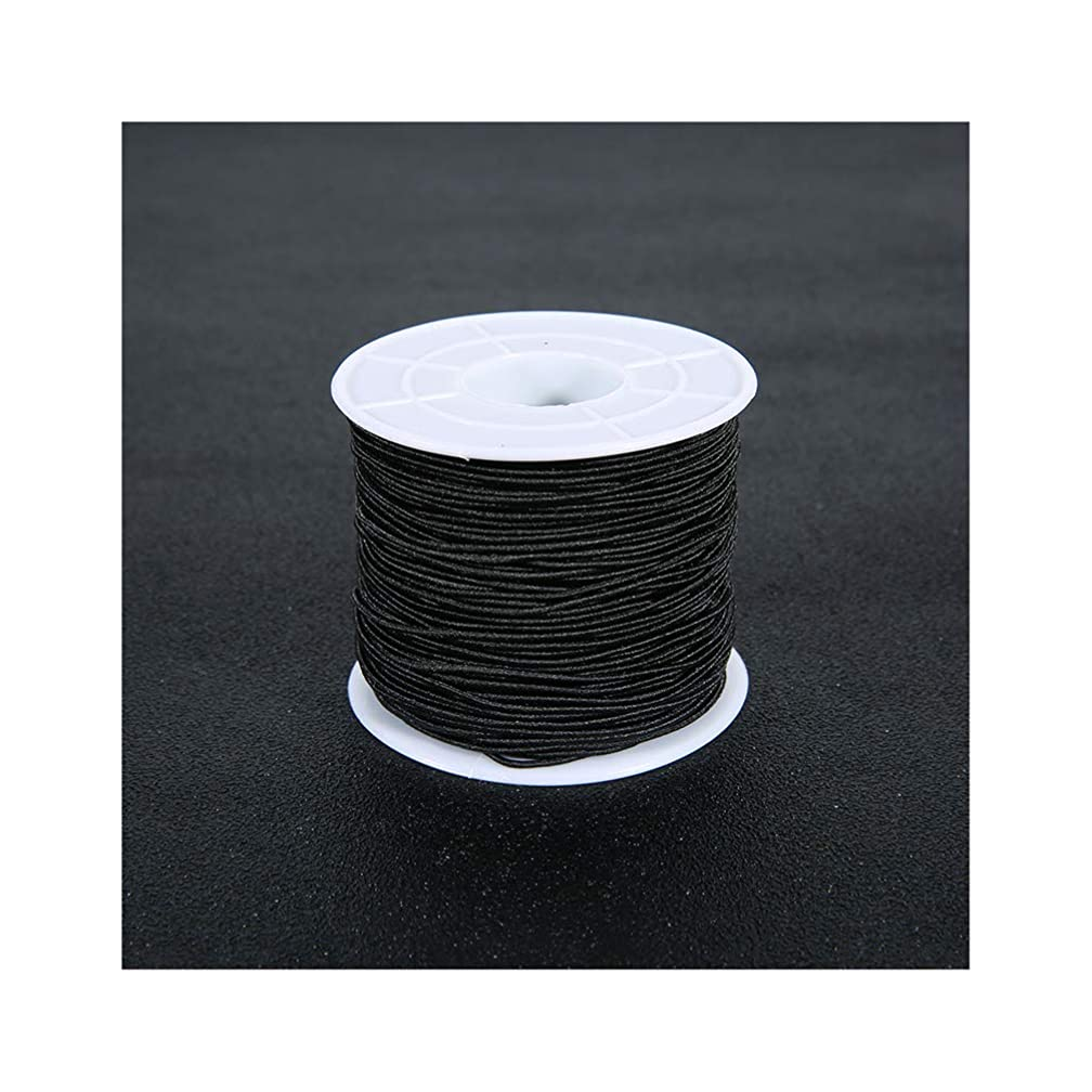 Tiparts 0.8 mm Elastic Cord String Elastic Thread Beading String Cord for Jewelry Making, 100 Meters (0.8mm Black)
