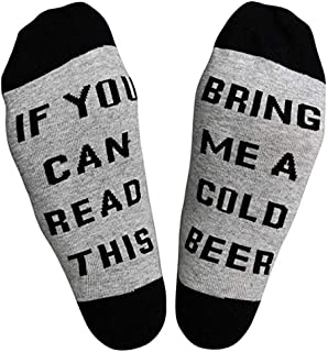 XIMIXI, Hombre Calcetines Divertidos y Novedosos, If You Can Read This Bring Me A Cold Beer Algodón Calcetines Hasta la Pantorrilla de Hombre