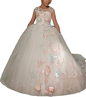 XGSD Wedding Flower Girl Dress Lace Girls Pageant Dress with Butterfly First Communion Dress Vestido da menina de Flor White