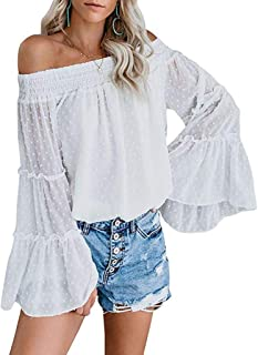 Sceoyche Womens Off The Shoulder Tops Long Bell Sleeve Flared Casual Loose Blouses Shirts