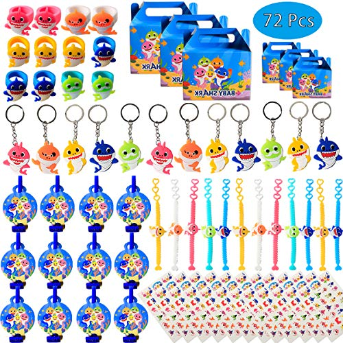 Shark Birthday Party Favors for Baby Supplies- Shark Bracelets Rings Key Chains Blower Whistles Tattoos and Goodie Bags for Classroom Rewards Carnival Prizes Set Gifts for Kids Boys Girls - Serve 12 Guests