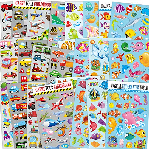Sea World & Cars Scrapbook Decal Stickers for Kids 24 Sheets with Angelfish, Sharks, Starfish, Sharks, Bus, Cars, Great as Reward Stickers Birthday Party Favors Toddlers