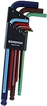3.6 3.6 Bondhus 26708 9//64 Stubby Ball End Tip Hex Key L-Wrench with BriteGuard Finish Pack of 50