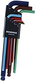 Bondhus 69499 Ball End L-Wrench Set w/ColorGuard Finish, 9 Piece