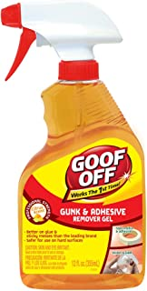 Goof Off FG790 Gunk Adhesives Remover, 12 oz, Bottle, Light Orange