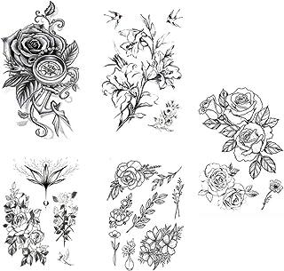 Beaupretty Rose Arm Tattoo Stickers 5 Stuks Arm Pioen Bloemen Zwarte Bloem Tijdelijke Tattoos Waterdicht Nep Tatoeages Ros...