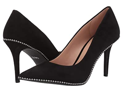 COACH 85 mm Waverly Pump with Beadchain (Black Suede) Women