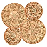 Paquete de 4 posavasos de ratán tejidos a mano, salvamanteles tejidos para platos calientes, taza, soporte para ollas para mesa, alfombrillas resistentes al calor