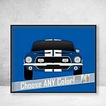 Ford Mustang 1968 Shelby GT500KR Cobra Poster Print Wall Art Decor Handmade Carroll Shelby