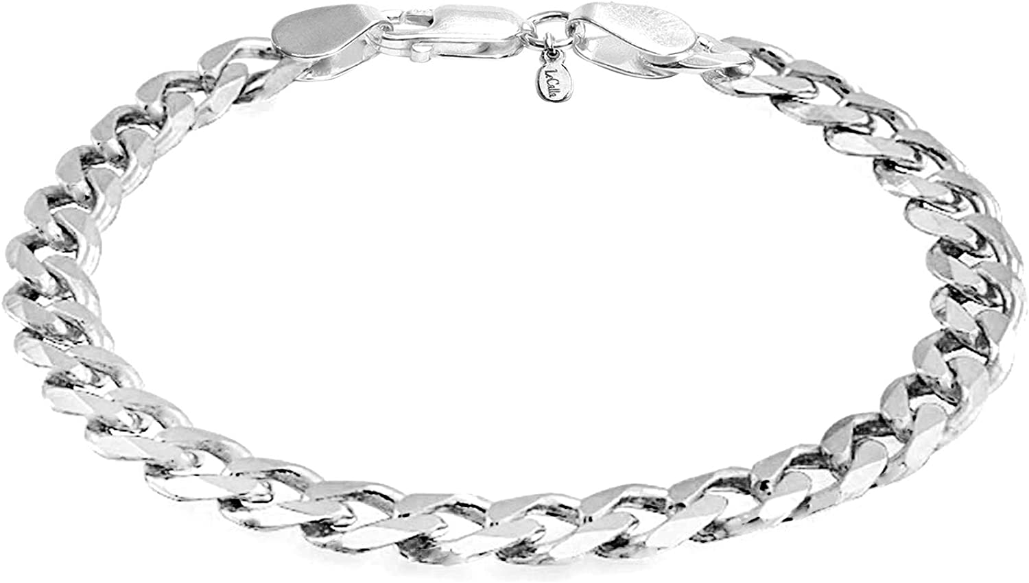 LeCalla Links Sterling Silver Jewelry 6.5 MM Curb Chain Bracelet