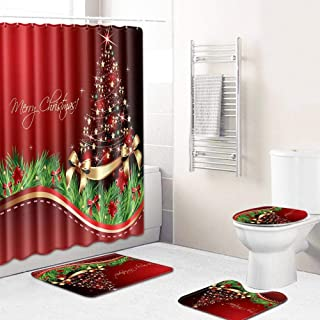 Volwco Merry Christmas Shower Curtain Sets, 4 Pcs Xmas Shower Curtain/Non-Slip Bathroom Rugs/Lid Toilet Cover/Bath Mat with 6 Hooks, Christmas Bathroom Sets Decor with Merry Christmas Theme