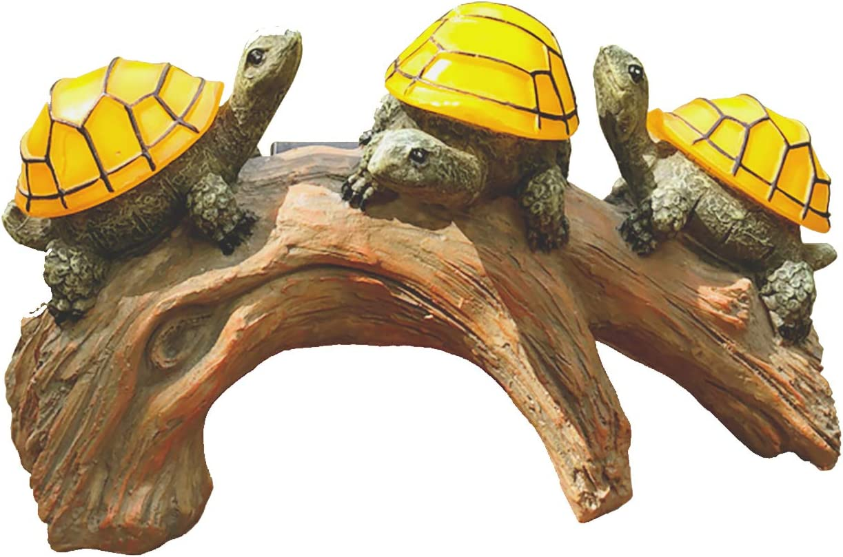 Washington Mall Ranking TOP12 Solar Powered Turtles on Log Decorations Outdoor Accent Garden
