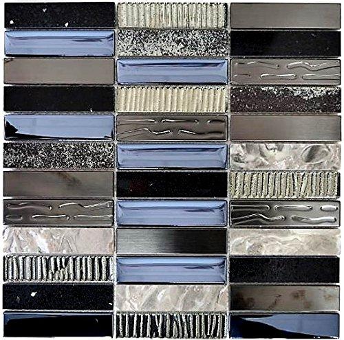 Mosaik Fliese Riemchen Edelstahl silber grau schwarz Glasmosaik für WAND BAD DUSCHE KÜCHE FLIESENSPIEGEL THEKENVERKLEIDUNG BADEWANNENVERKLEIDUNG Mosaikmatte Mosaikplatte | 10 Mosaikmatten