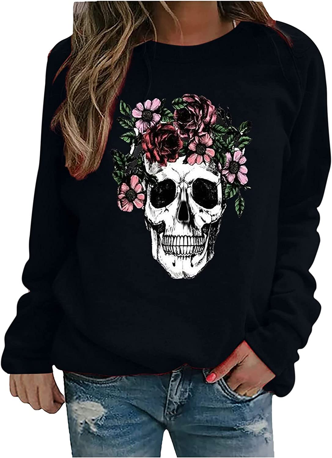 Womens Styles Rose Skull Sweatshirts Day of The Dead Halloween Long Sleeve Crew Neck Pullover Oversize Y2k Tops