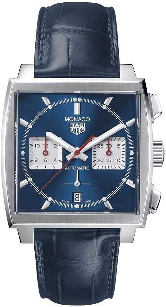 Tag heuer monaco, orologio, cronografo per uomo, automatico, in acciaio satinato e cinturino in pelle CBL2111.FC6453