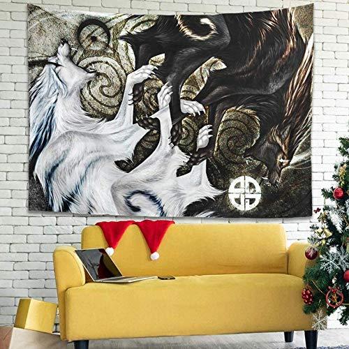 BOIPEEI Vintage Viking Wolf Skoll Hati Art Print Tapiz para Colgar en la Pared Arte de la Pared Cortina Retro Blanco 100Cmx70Cm