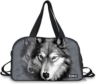 HUGS IDEA Cool 3D Animals Print Large Gym Sports Travel Duffles Tote Bag